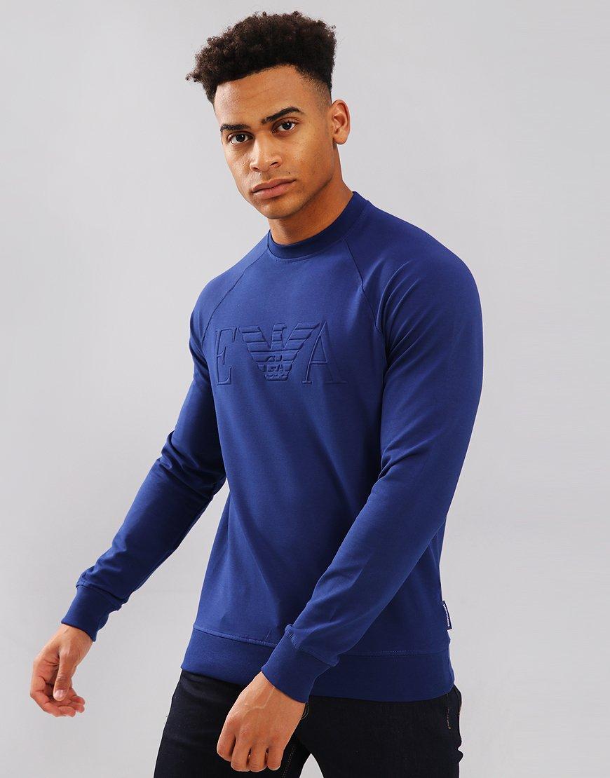 Emporio Armani Stretch Cotton Logo Sweatshirt Surf Blue