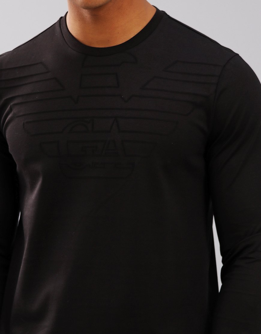 238274a6cd8 Emporio Armani Embossed Tonal Long Sleeve T-Shirt Black - Terraces ...