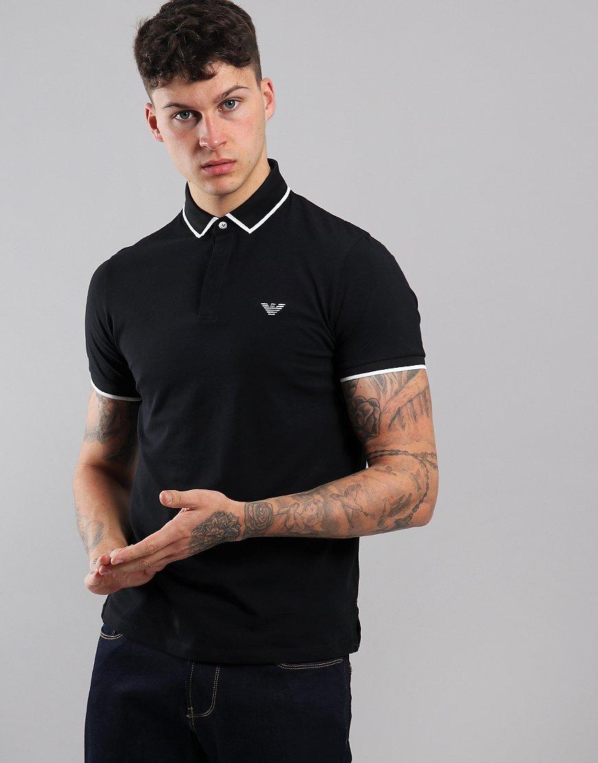 Emporio Armani Jersey Tipped Polo Shirt Black