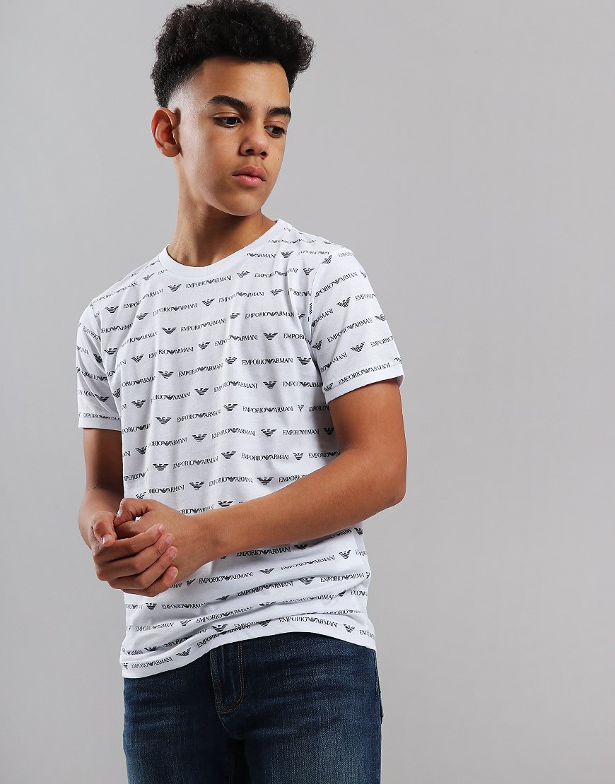 Armani Junior All Over Print T-Shirt White Fantasy