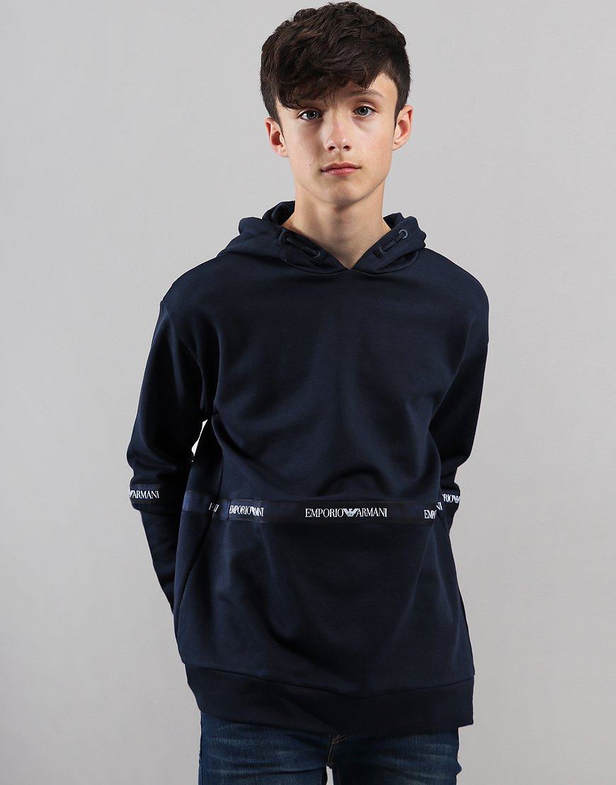 Armani Junior Bicolour Hooded Sweat Navy