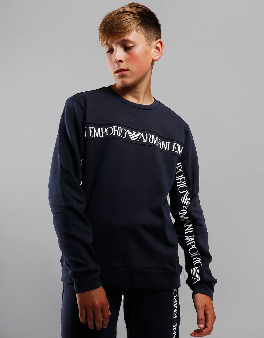 Armani Junior Chest Tape Sweat Navy