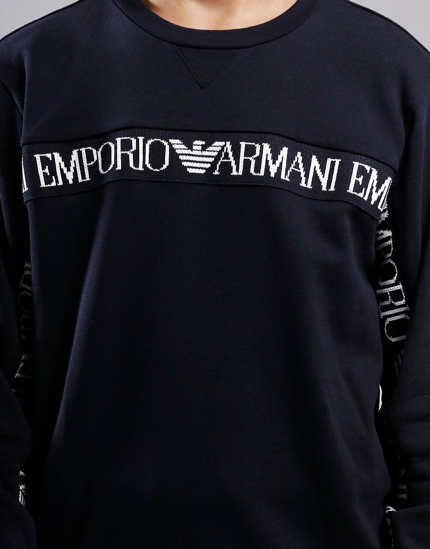 Armani Junior Chest Tape Sweat Navy