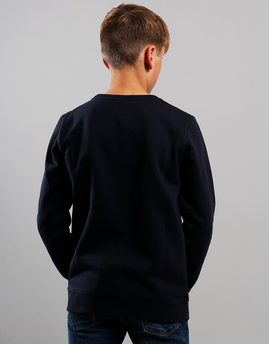 Armani Junior Cotton Crew Sweat Navy