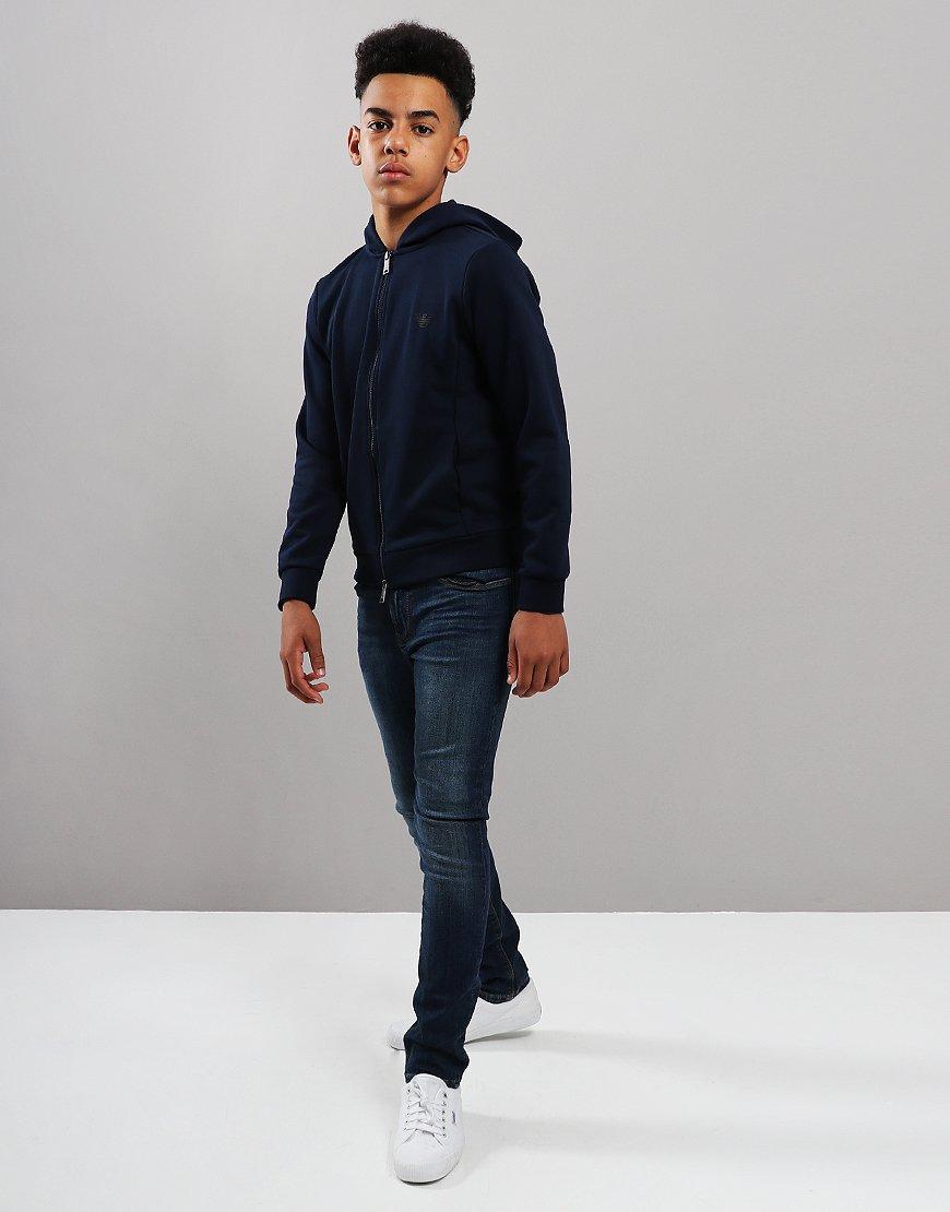 Armani Junior Full Zip Hoodie Blue