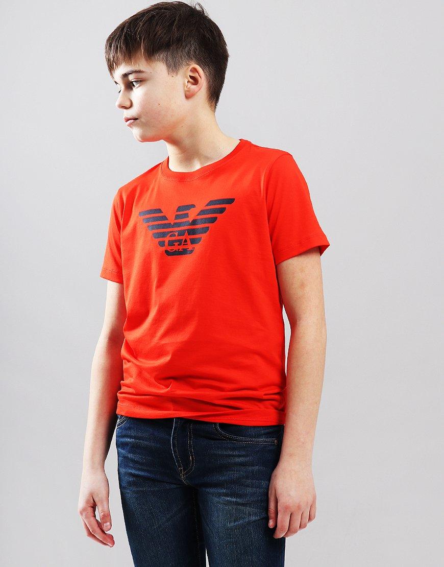 Armani Junior Logo T-Shirt Coral