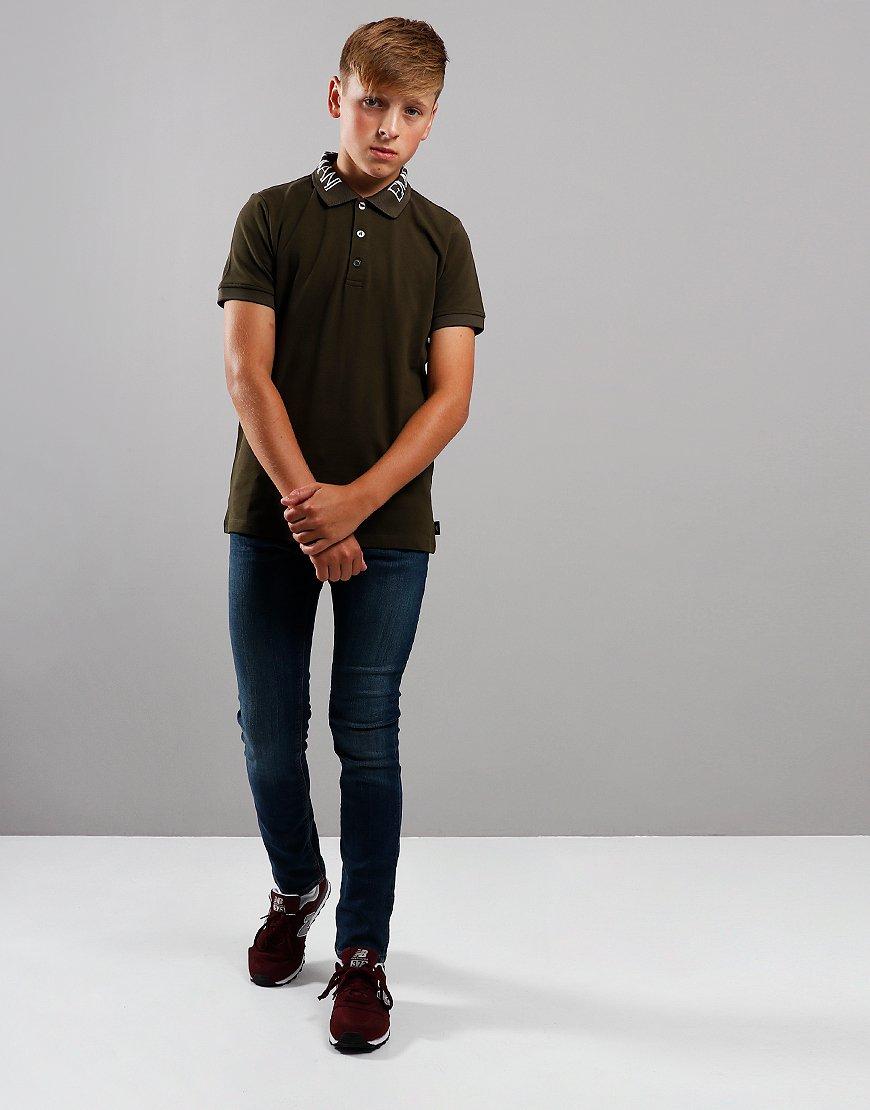 Armani Junior Collar Print Polo Shirt Olive