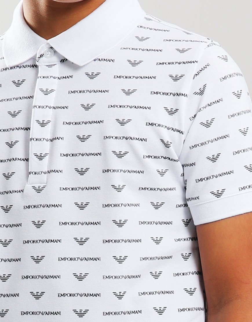 5dae3c268 Armani Junior All Over Print Polo Shirt White Blue - Terraces Menswear