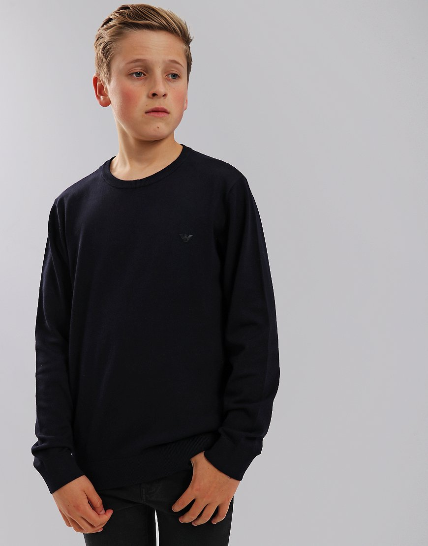 Armani Junior Knitted Crew Neck Jumper Navy