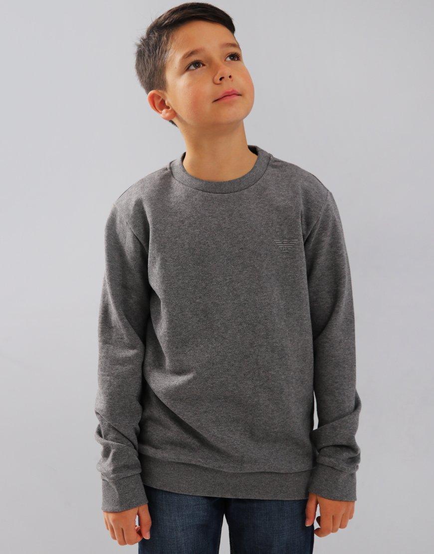 Armani Junior Small Logo Sweat Medium Grey