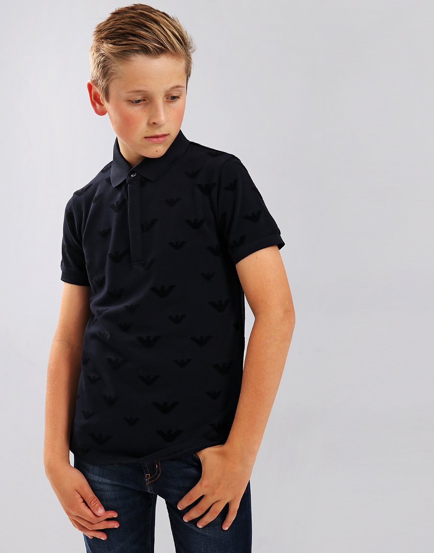 Armani Kids Eagle All Over Print Polo Shirt Navy