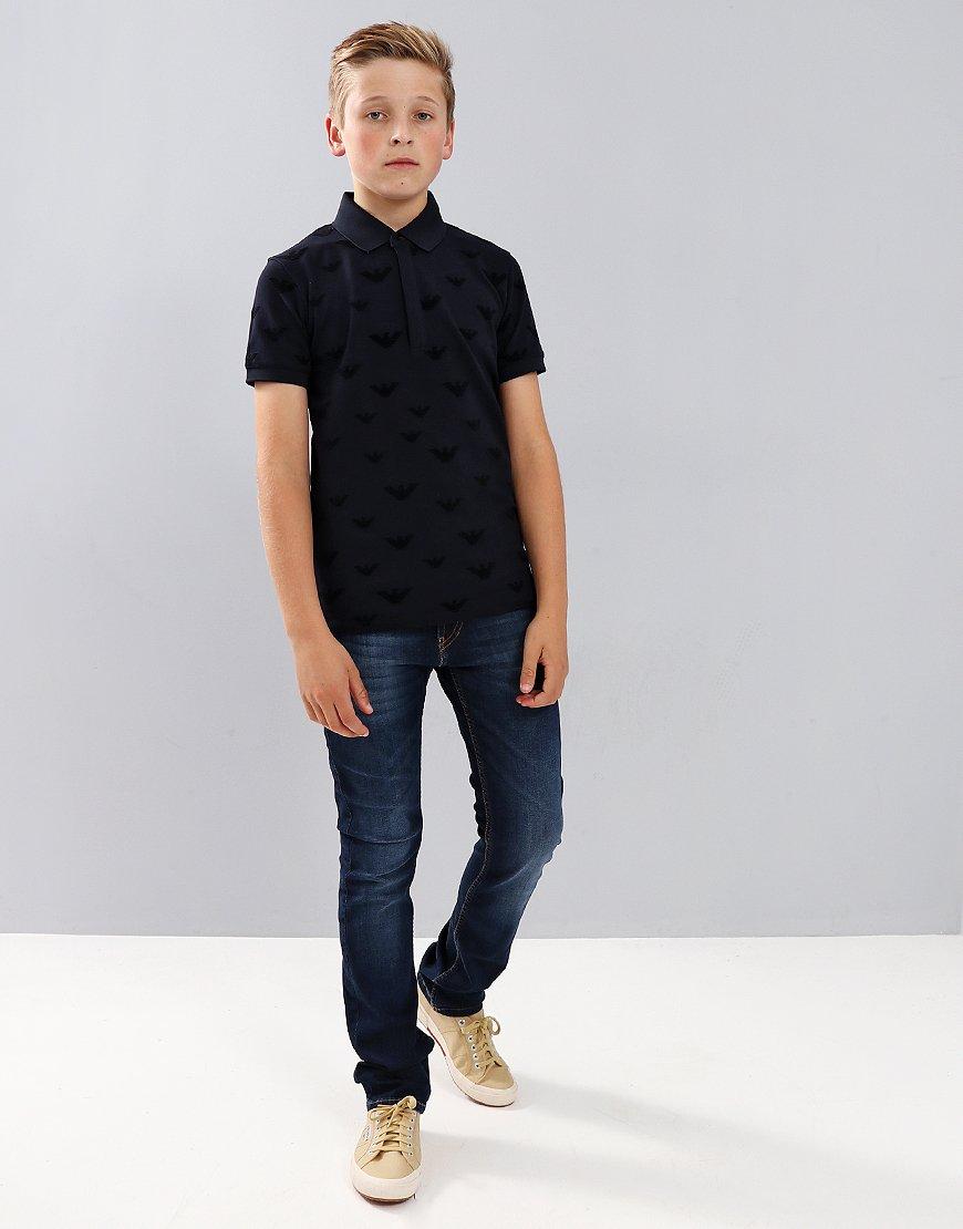 9fbfa7a0a Armani Kids Eagle All Over Print Polo Shirt Navy - Terraces Menswear