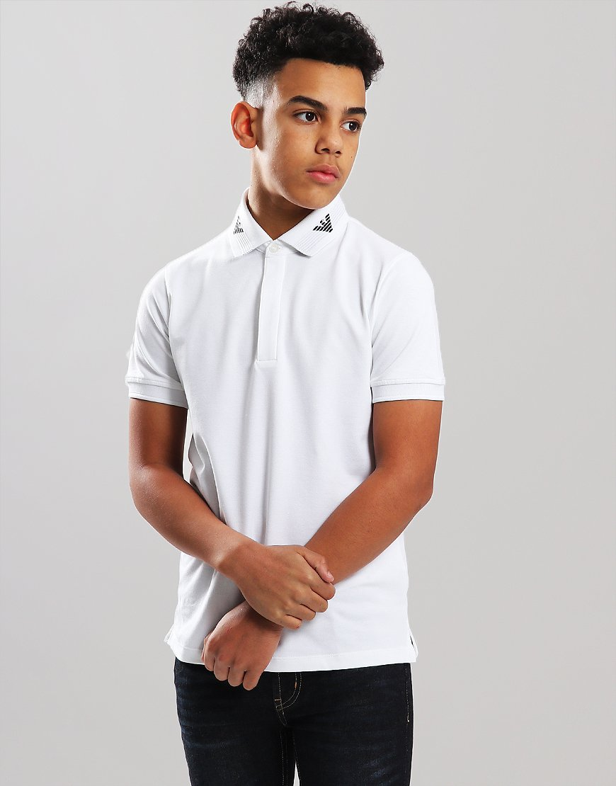 Armani Junior Eagle Collar Polo Shirt White