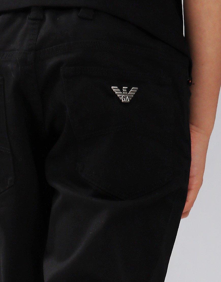 Armani Junior Stretch Cotton Gabardine Jeans Black