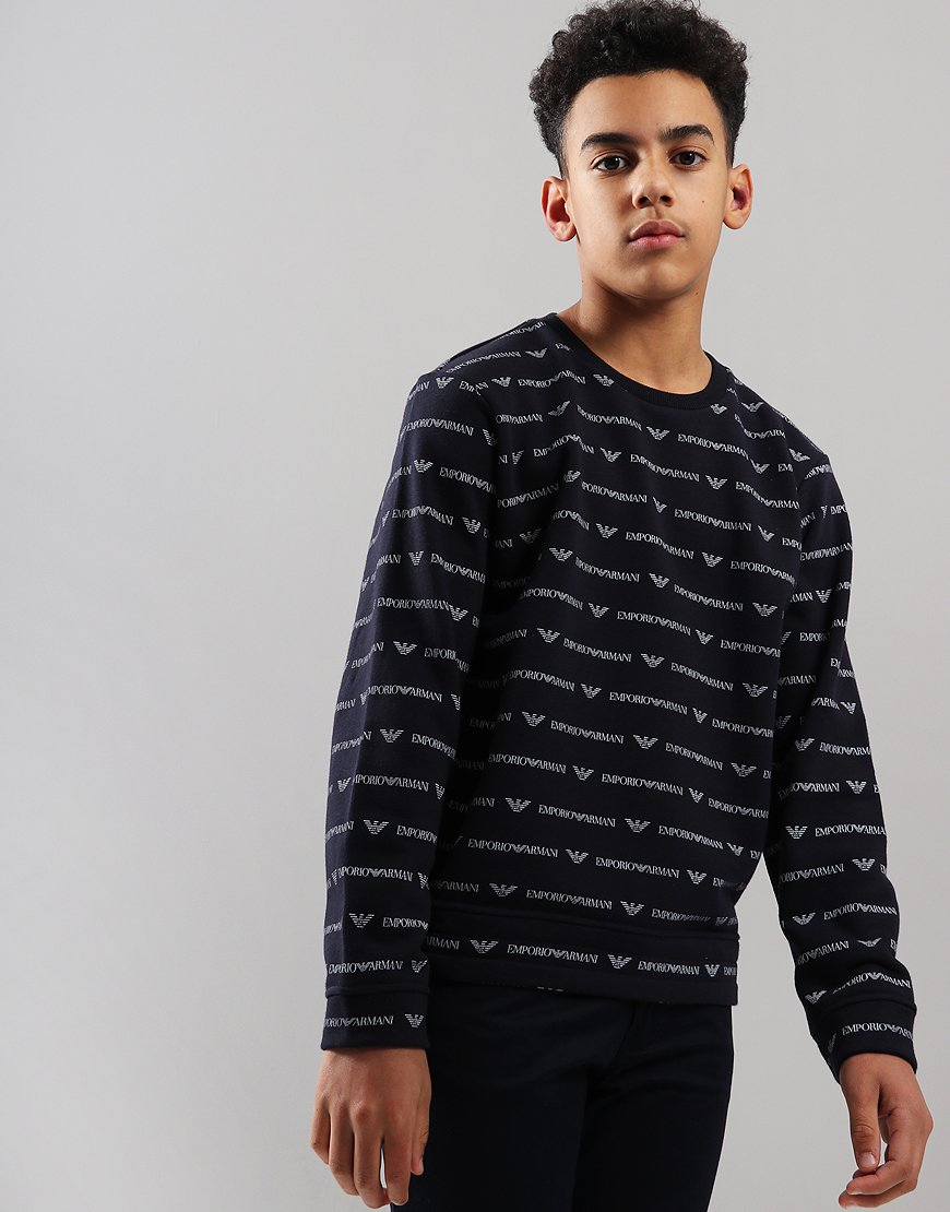 Armani Junior All Over Print Sweat Navy