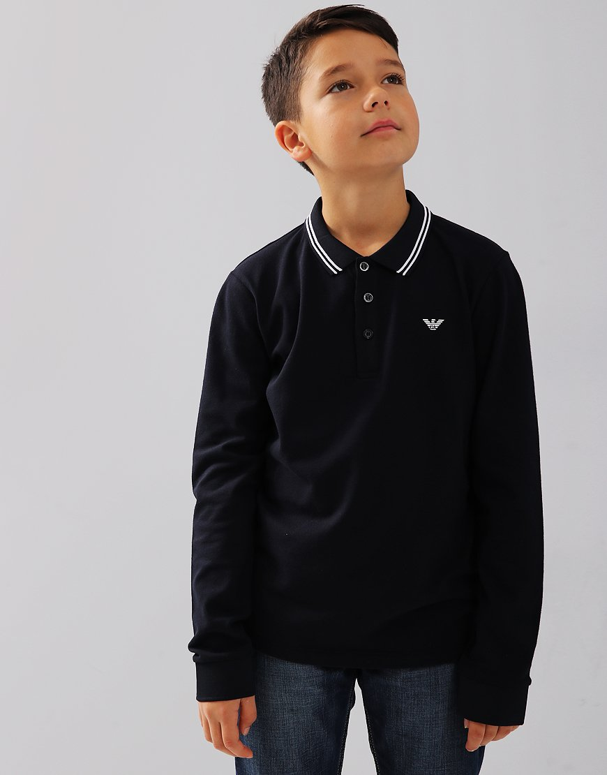 Armani Junior Long Sleeved Tipped Polo Shirt Dark Blue