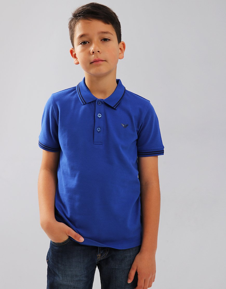 Armani Junior Tipped Polo Shirt Blue China