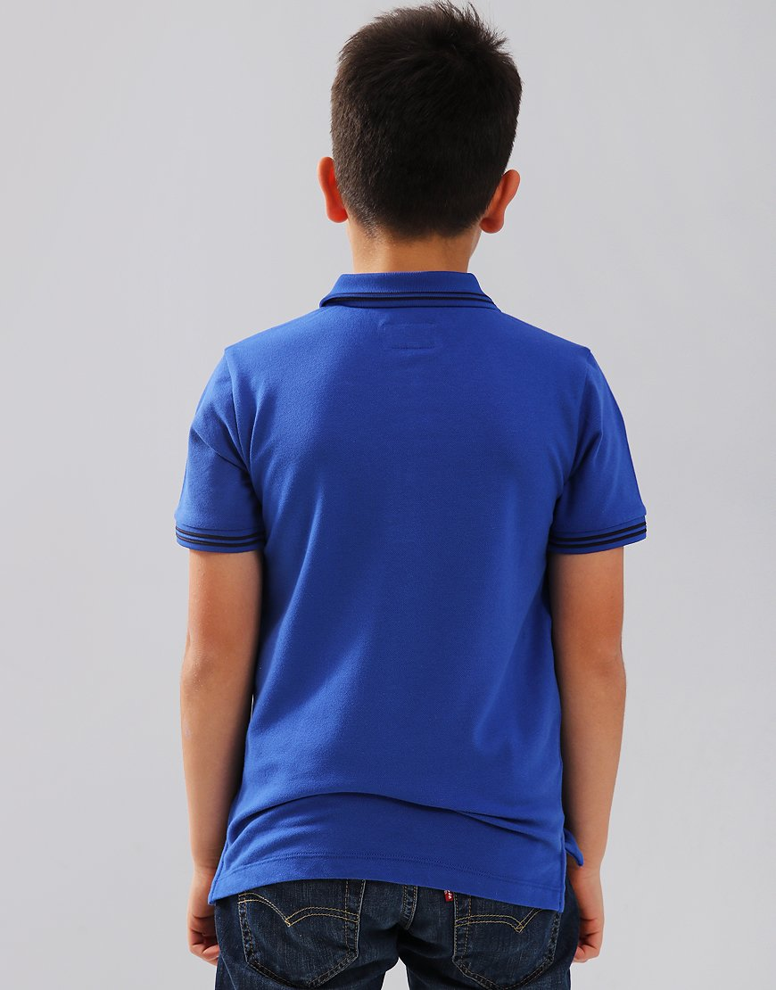 Armani Junior Tipped Polo Shirt Blue China