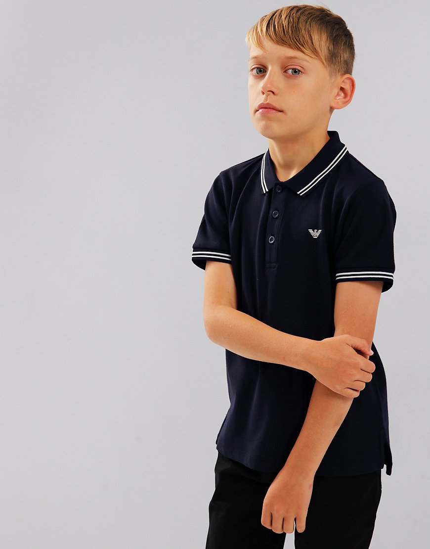Armani Junior Tipped Polo Shirt Dark Blue