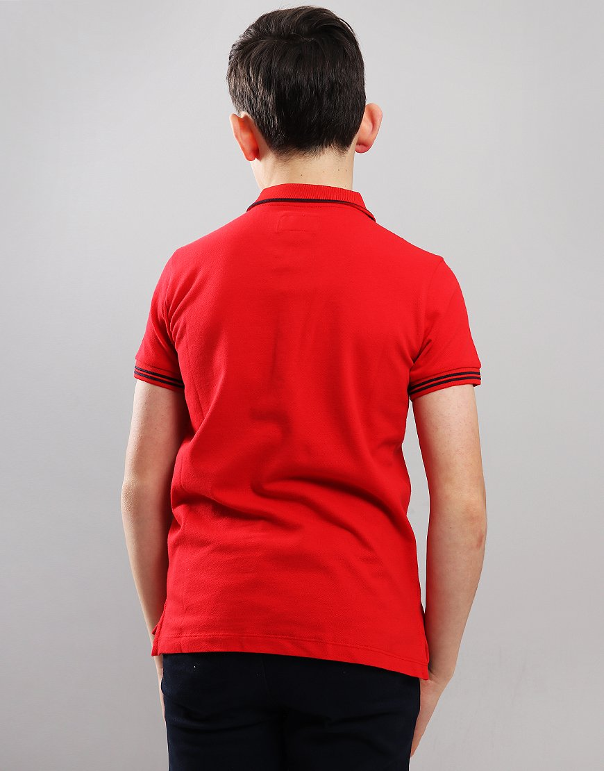 Armani Junior Tipped Polo Shirt Red