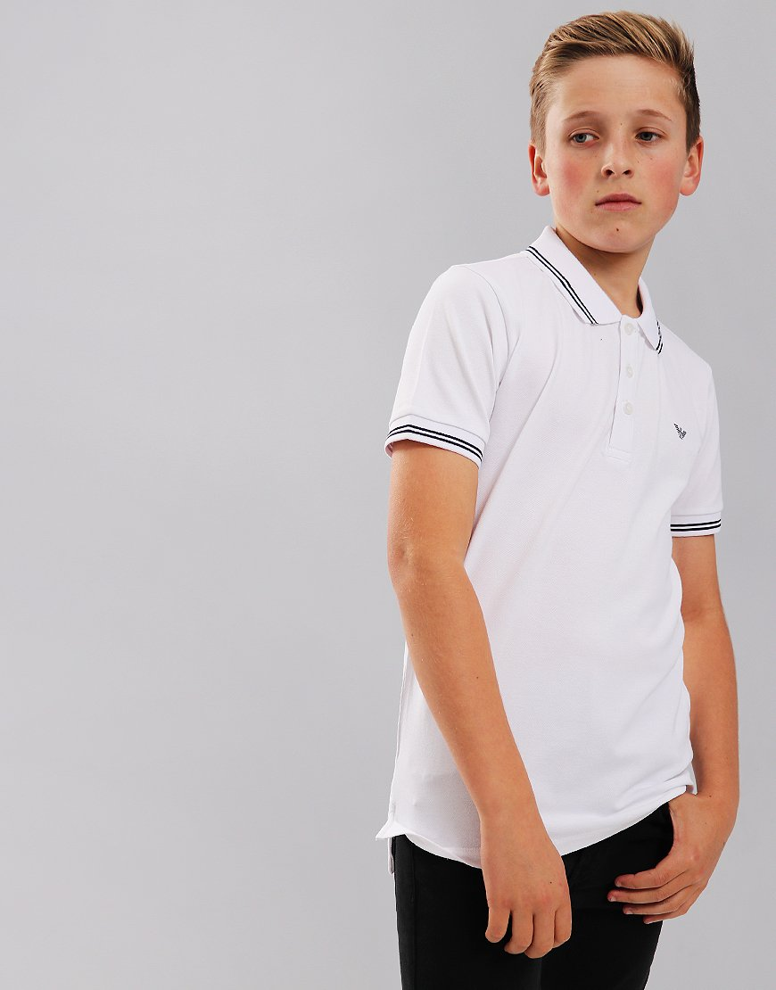 Armani Junior Tipped Polo Shirt White