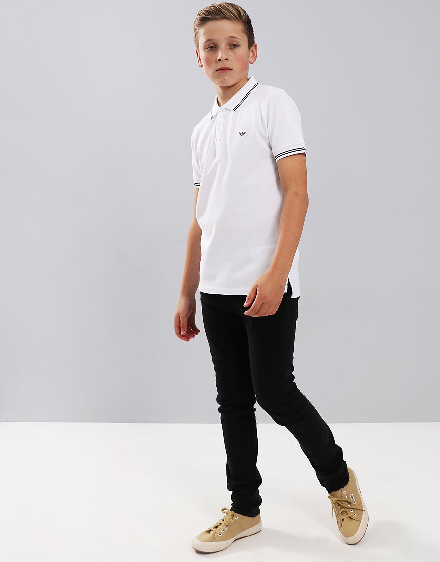 27887a95 Armani Junior Tipped Polo Shirt White - Terraces Menswear