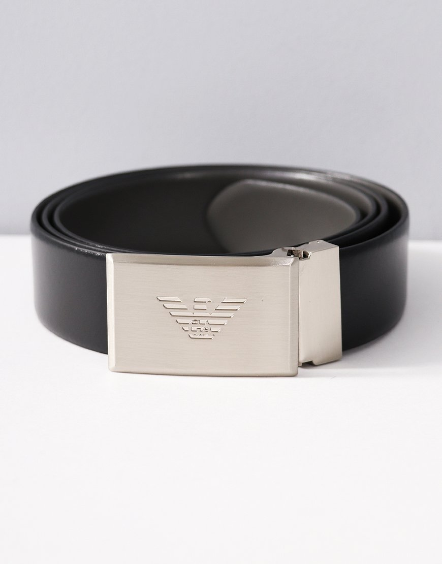 Armani Branded Plate Buckle Belt Black