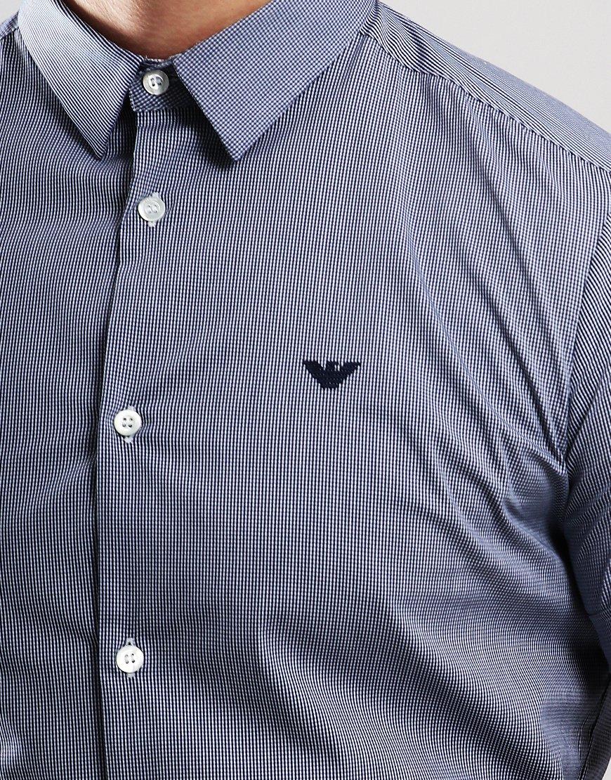 Emporio Armani Woven Short Sleeve Shirt Blue Check