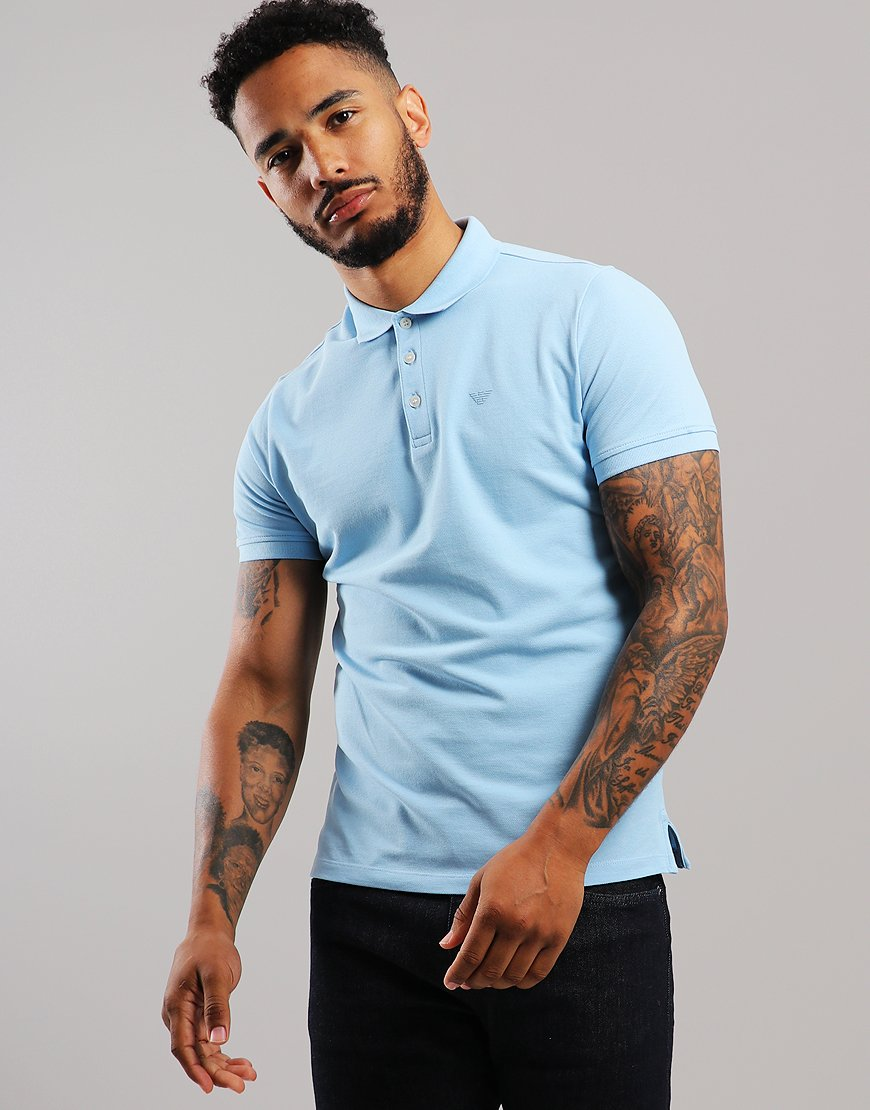 Emporio Armani Short Sleeve Polo Shirt Light Blue
