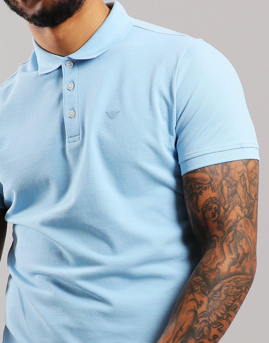 91bd8e05 Emporio Armani Short Sleeve Polo Shirt Light Blue - Terraces Menswear