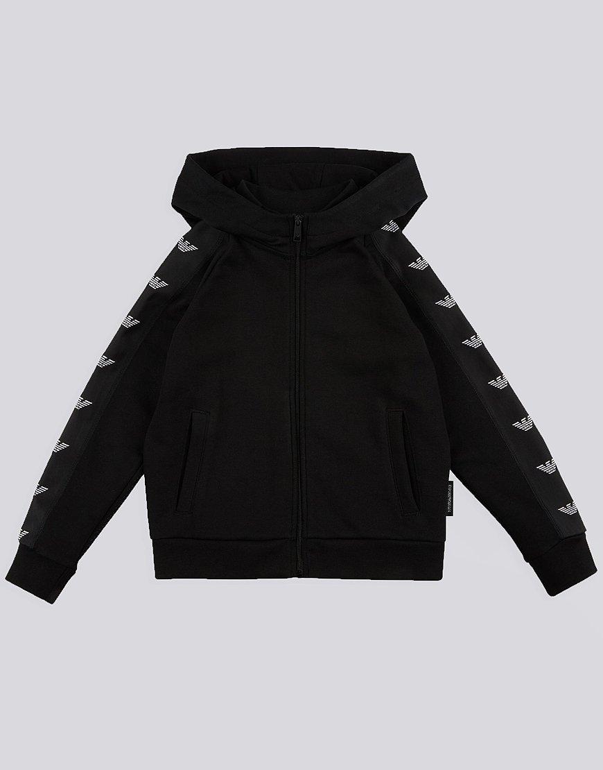 Armani Junior Hooded Eagle Stripe Sweat Black