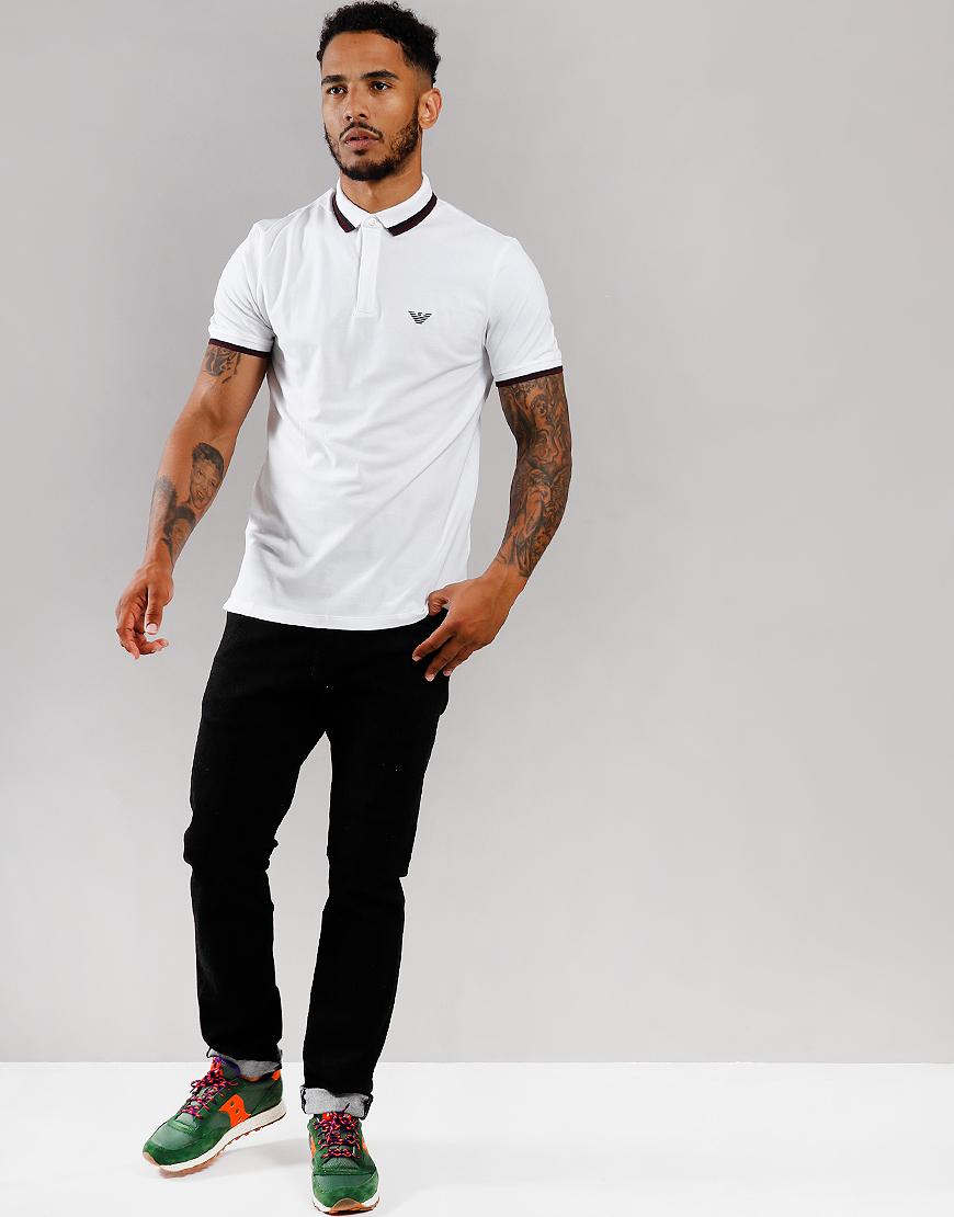 Emporio Armani Tipped Polo Shirt White