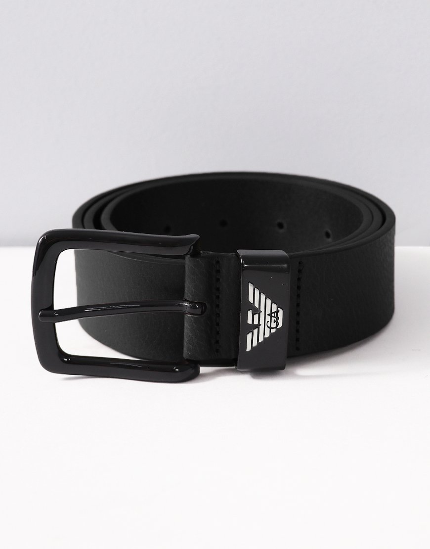 Armani Leather Tongue Belt Black