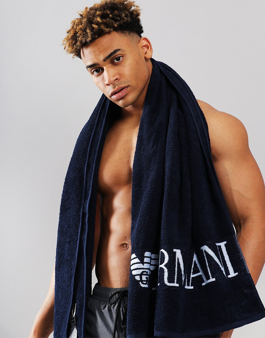 Emporio Armani Large Logo Towel Blue
