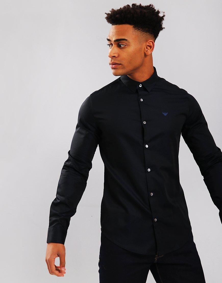 Emporio Armani Long Sleeve Woven Shirt Dark Blue