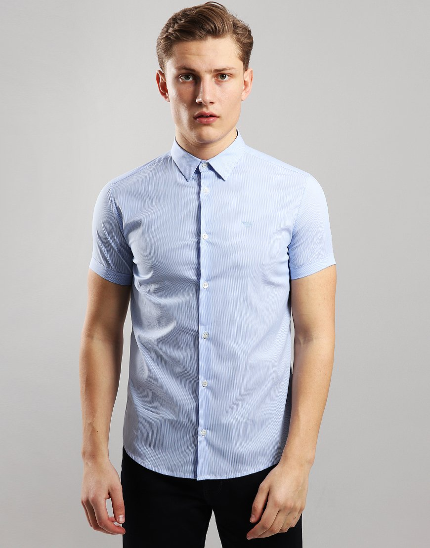 Emporio Armani Woven Short Sleeve Shirt Blue Stripe