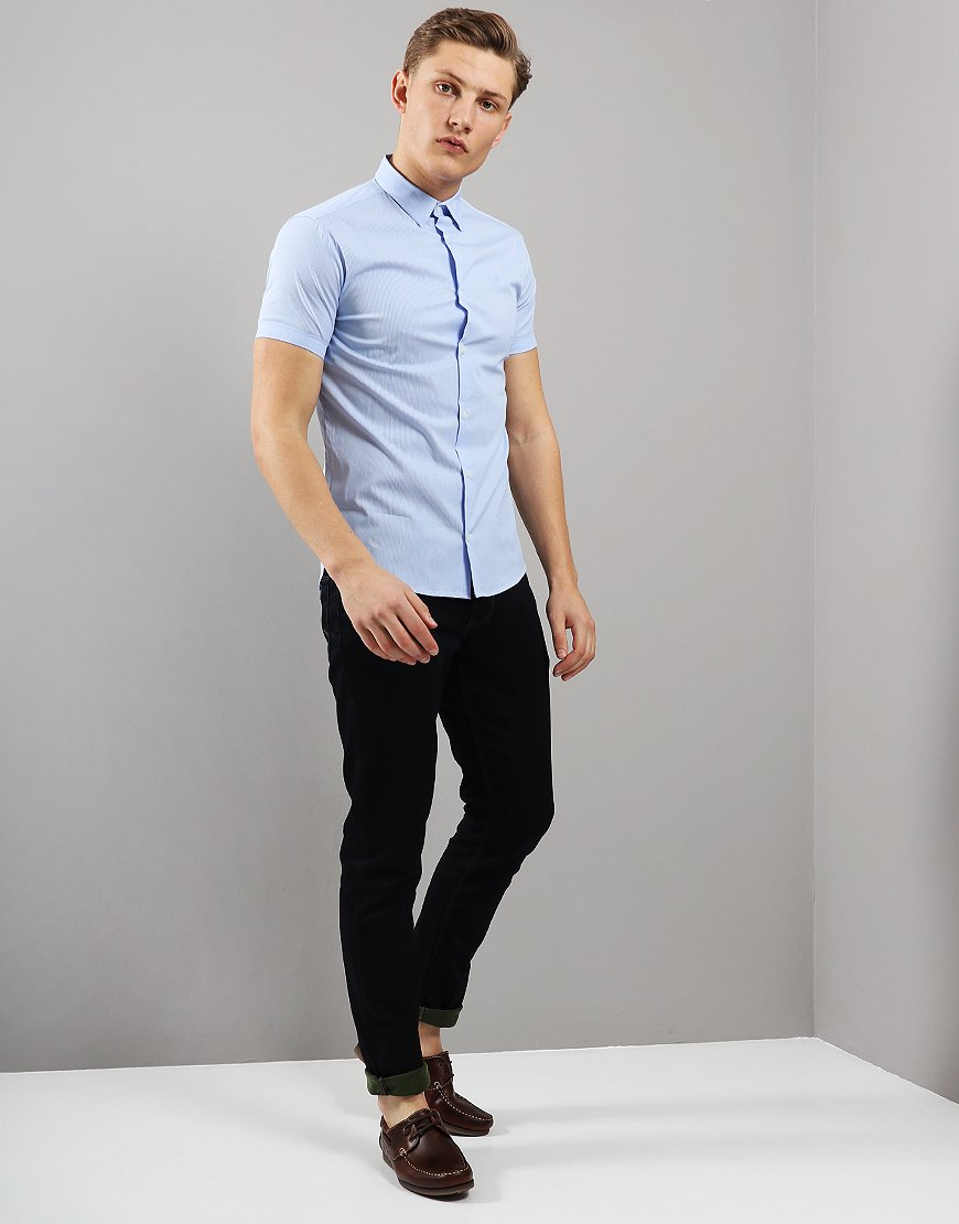 ad46bd31d00c3 Emporio Armani Woven Short Sleeve Shirt Blue Stripe - Terraces Menswear