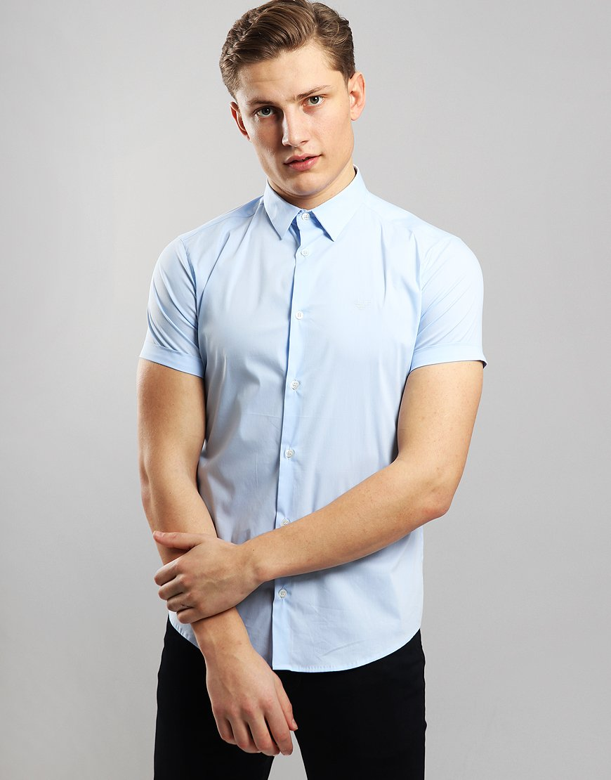 Emporio Armani Woven Short Sleeve Shirt Light Blue