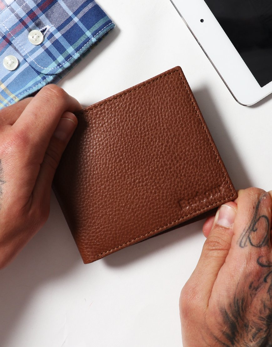 Barbour 2 Tone Leather Billfold Wallet Tan