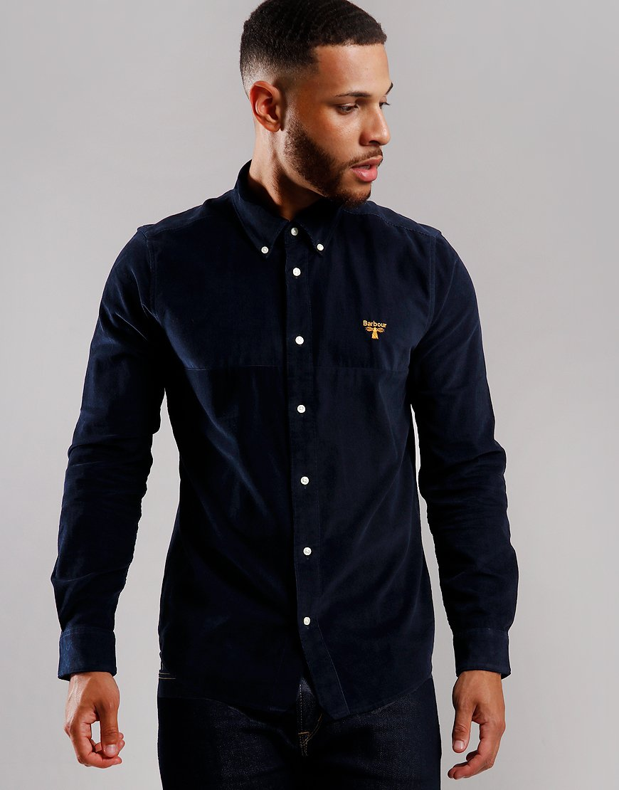 Barbour Beacon Balfour Corduroy Patchwork Shirt Navy