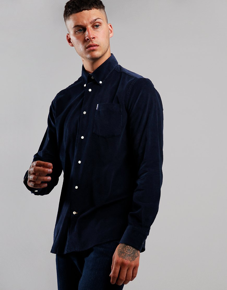 Barbour Cord 1 Long Sleeve Tailored Shirt Navy