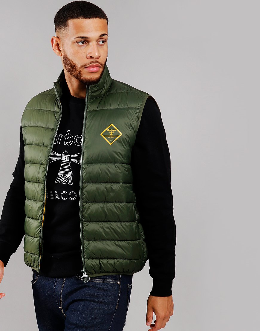 Barber Beacon Harter Quilted Gilet Sage/Smoke