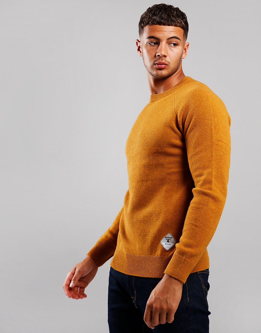 Barbour Beacon Lambswool Crew Neck Knit Copper