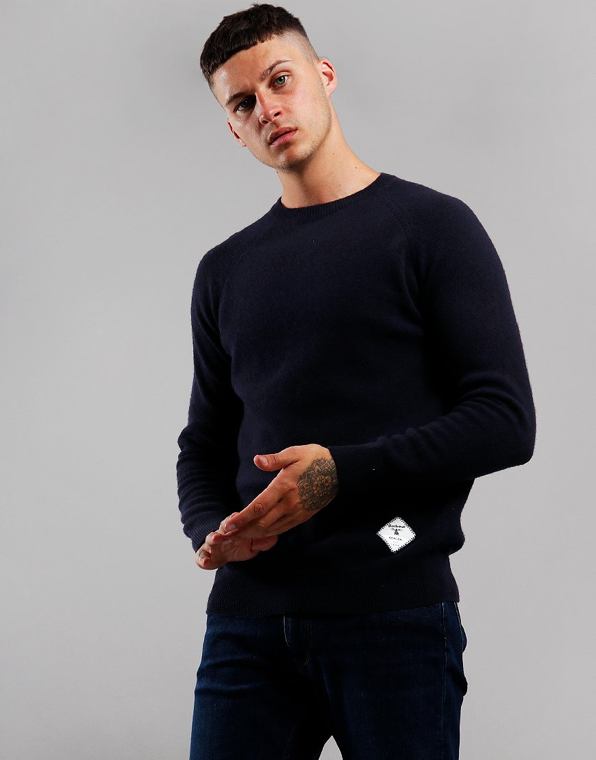 Barbour Beacon Lambswool Crew Neck Knit Navy