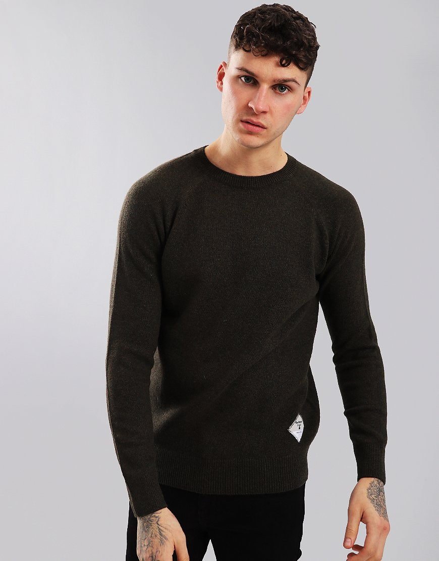 Barbour Beacon Lambswool Crew Neck Knit Forest