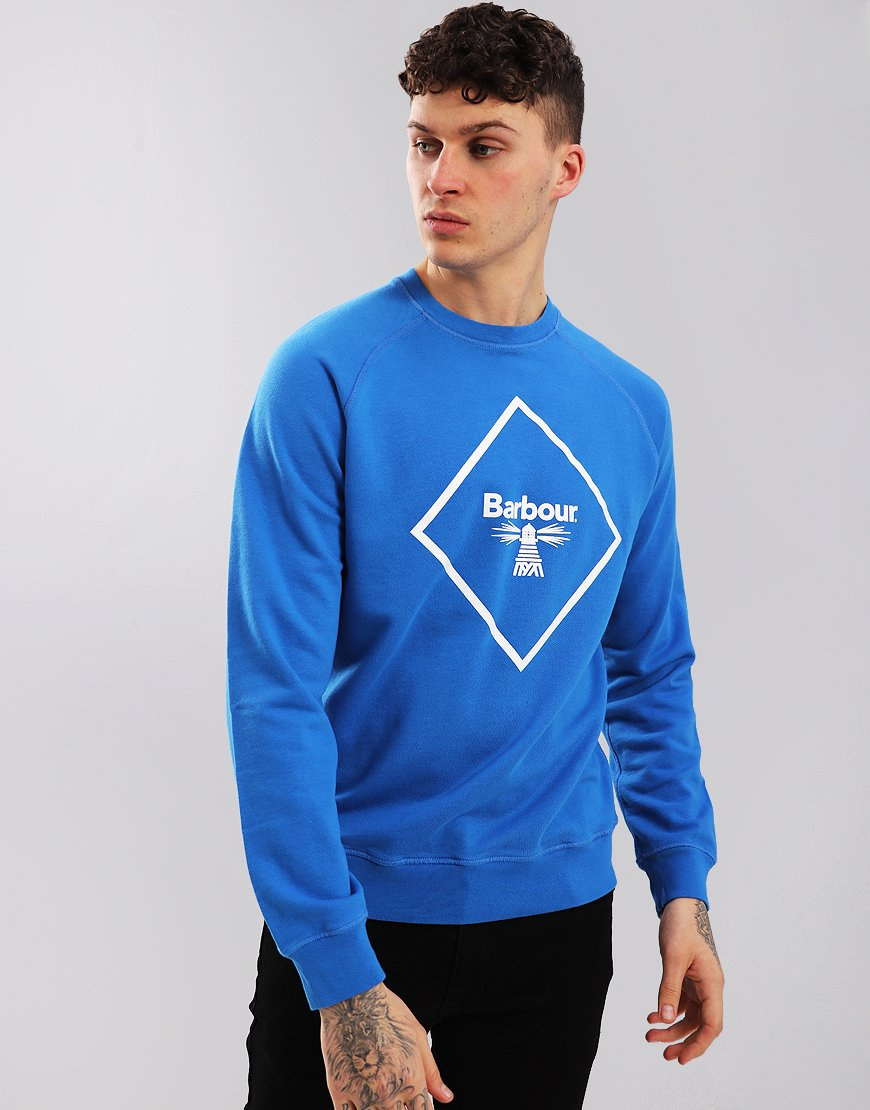 Barbour Beacon Large Logo Sweat Frost Blue