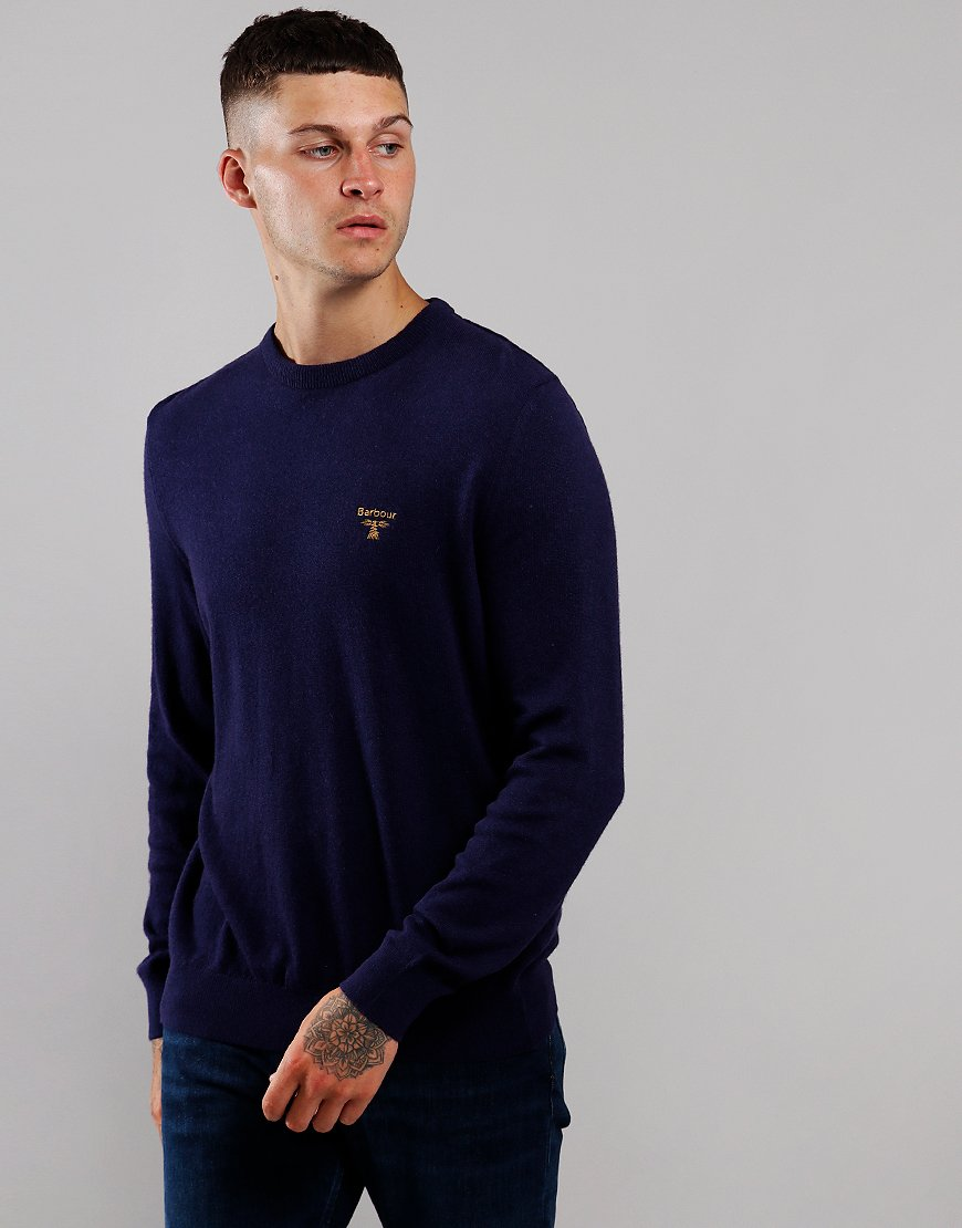 Barbour Beacon Logo Crew Neck Knit Royal Blue