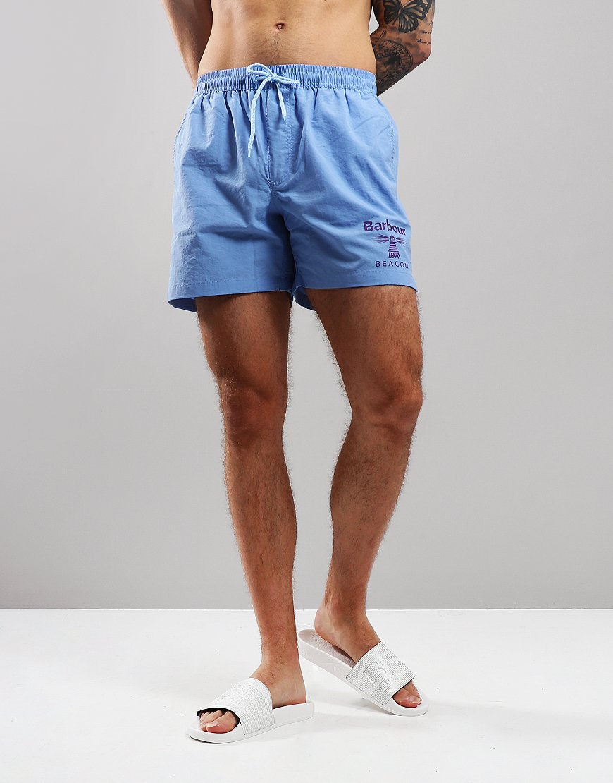Barbour Beacon Logo Swim Shorts Light Blue