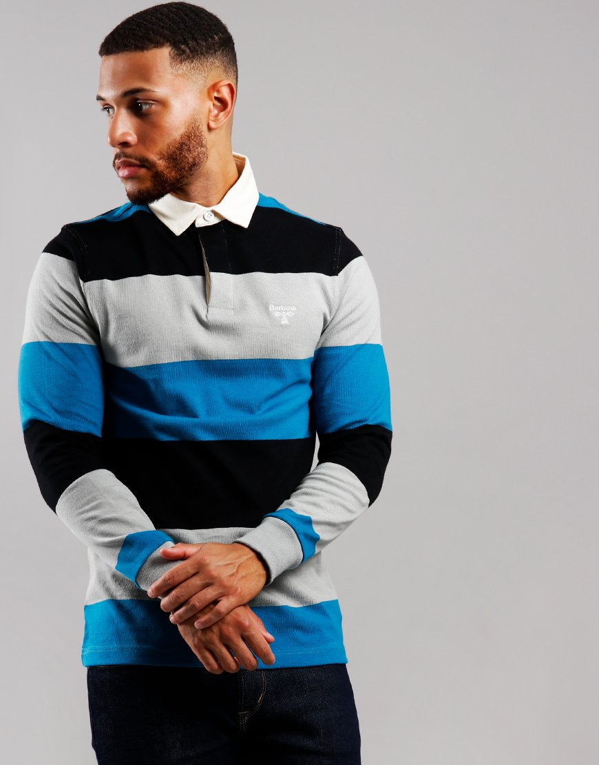 Barbour Beacon Rugby Stripe Polo Shirt Celestial