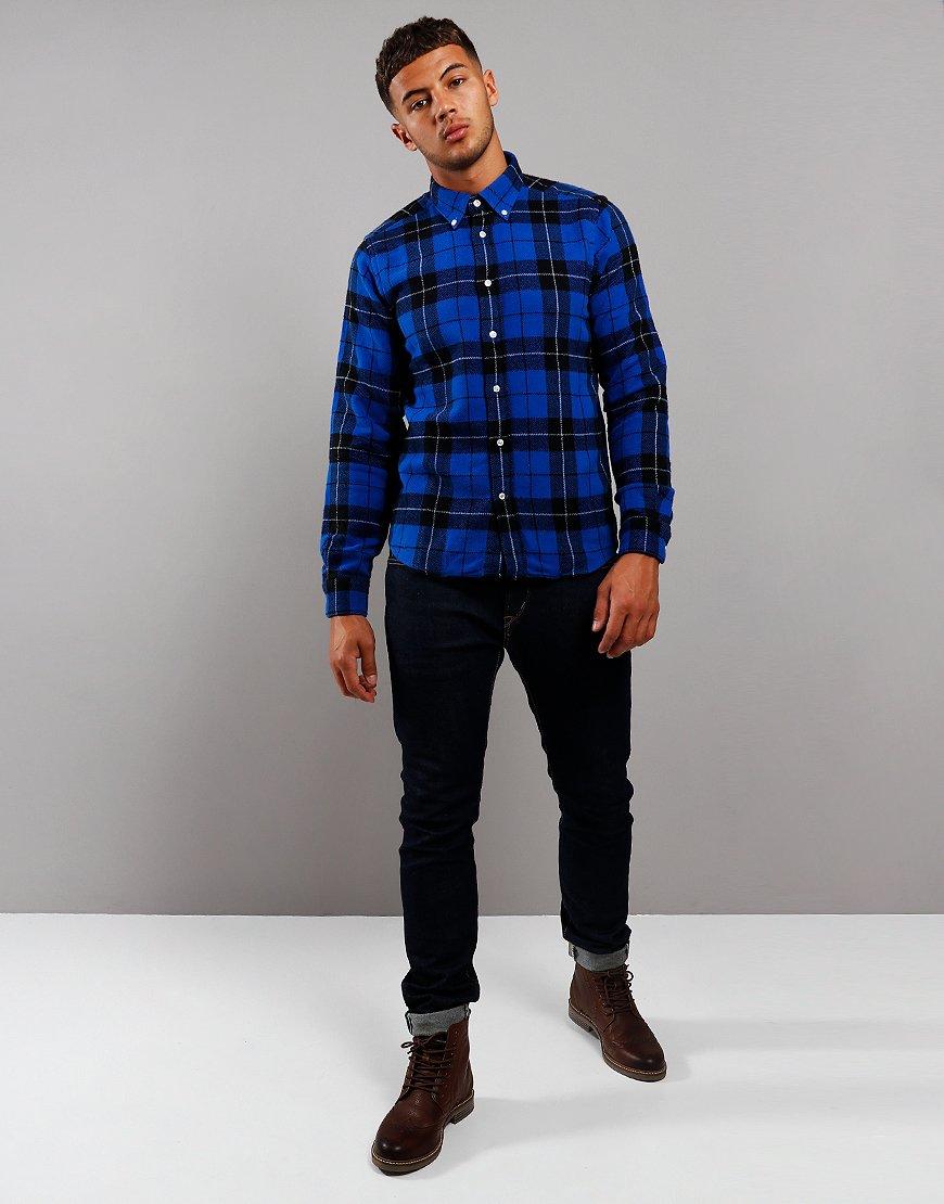 Barbour Beacon Span Long Sleeve Shirt Sea Blue